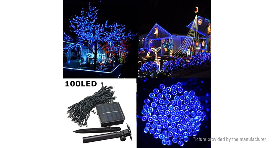 Solar Powered Christmas Lights.12 65 Solar Powered 100 Led Christmas Decorative String Light 12m 25lm Blue Light At Fasttech Worldwide Free Shipping