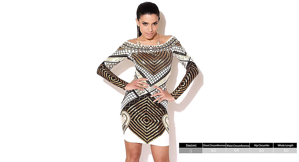 Product Image: women-off-the-shoulder-geometric-print-skinny