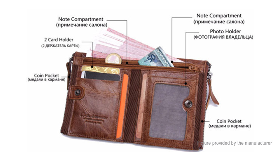 Men's PU Leather Bifold Short Wallet Coin Purse Holder