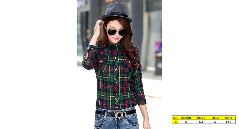 Women 39 s long sleeve flannel lined winter plaid for Women s slim fit flannel shirt