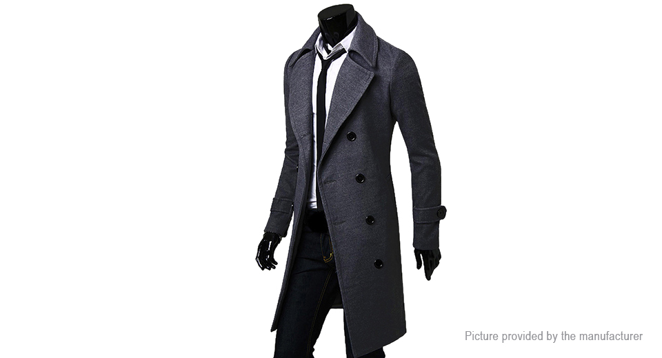Men's Wide Lapel Double Breasted Wool Blend Overcoat (Size L)