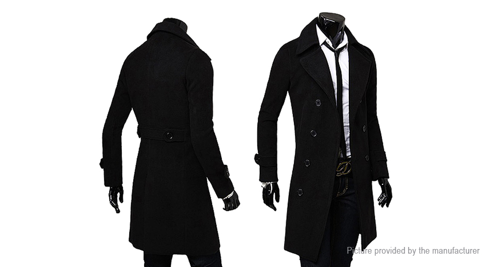 Men's Wide Lapel Double Breasted Wool Blend Overcoat (Size 2XL)