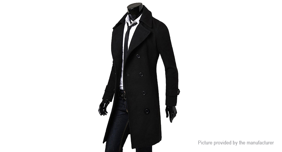 Men's Wide Lapel Double Breasted Wool Blend Overcoat (Size 3XL)