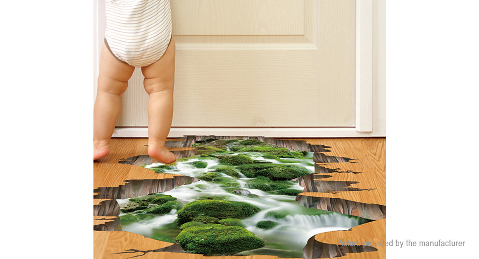 3D Stream Styled Removable Floor Wall Sticker Home Decor