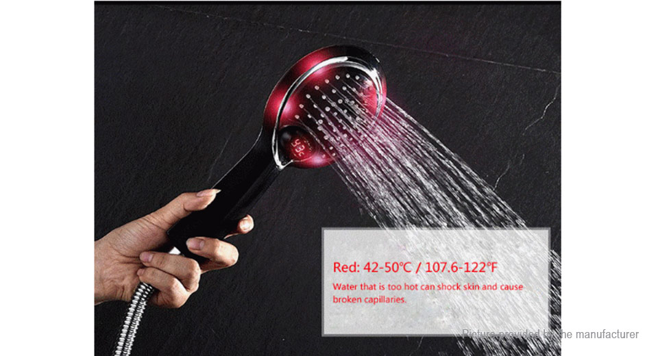 3 Colors LED Light Automatic Temperature Sensor Shower Head