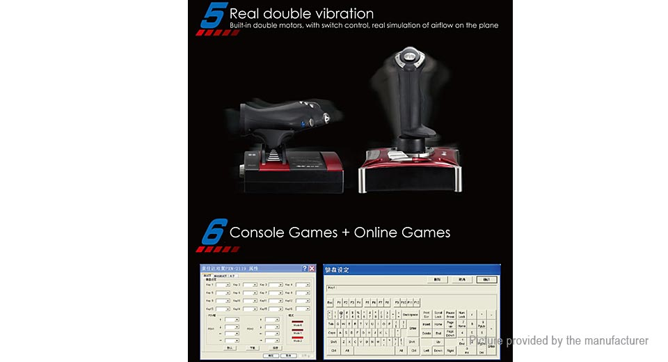 Authentic Litestar PXN-2119II Computer Flight Game Joystick Simulation Gaming Rocker Controller