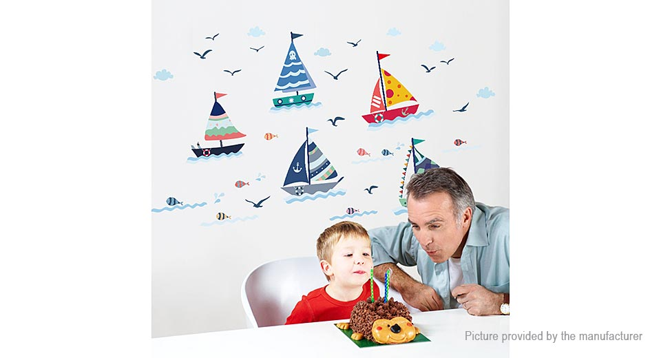 Sail Boat Styled Removable Wall Sticker Home Decor