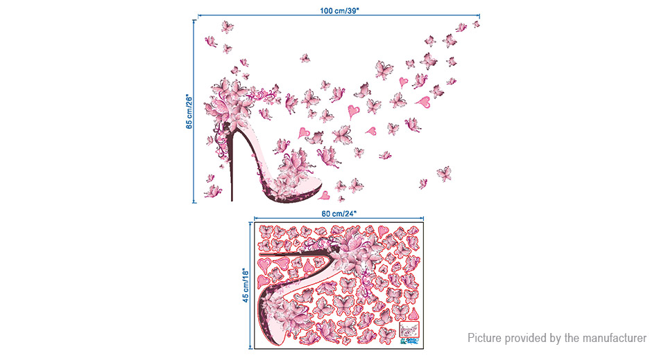 High Heels Butterfly Styled Removable Wall Sticker Home Decor