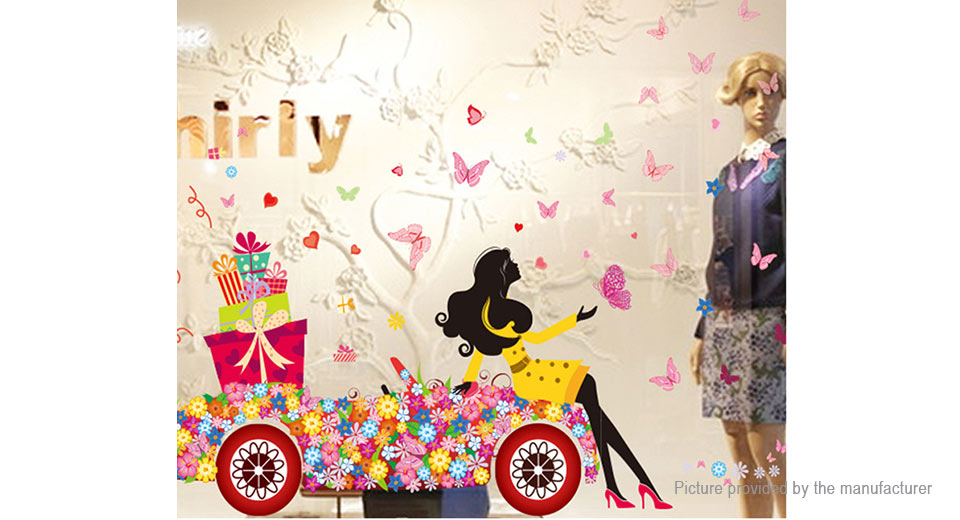 Beauty Girl Flower Car Styled Removable Wall Sticker Home Decor