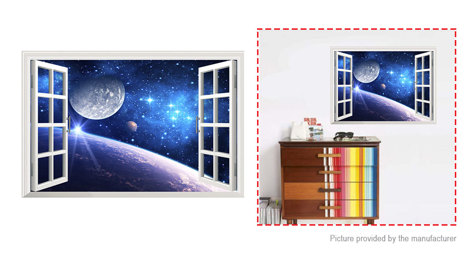 3D Earth Landscape Window Styled Removable Wall Sticker Home Decor