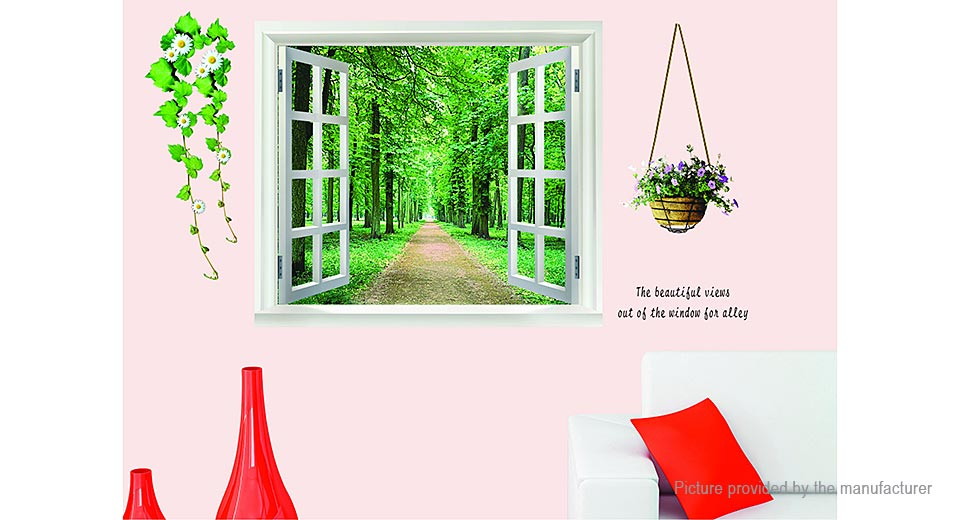 3D Tree-Lined Trail Window Styled Removable Wall Sticker Home Decor