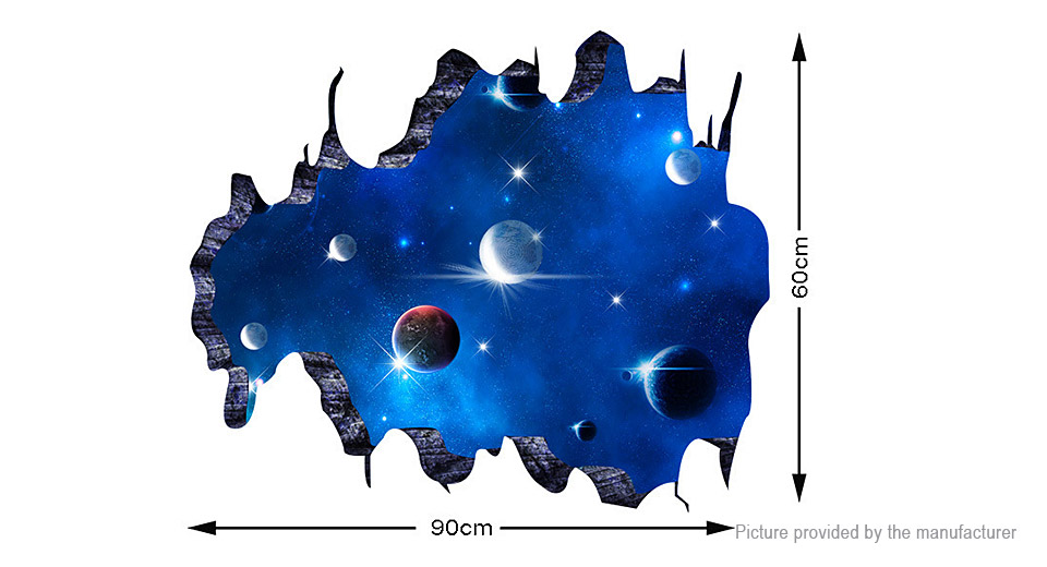 3D Space Meteorites Styled Removable Wall Sticker Home Decor