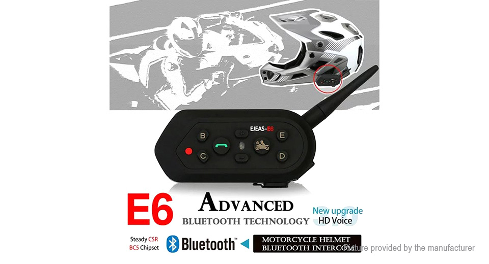 EJEAS E6 Motorcycle Helmet Bluetooth V3.0 Interphone (2-Pack)
