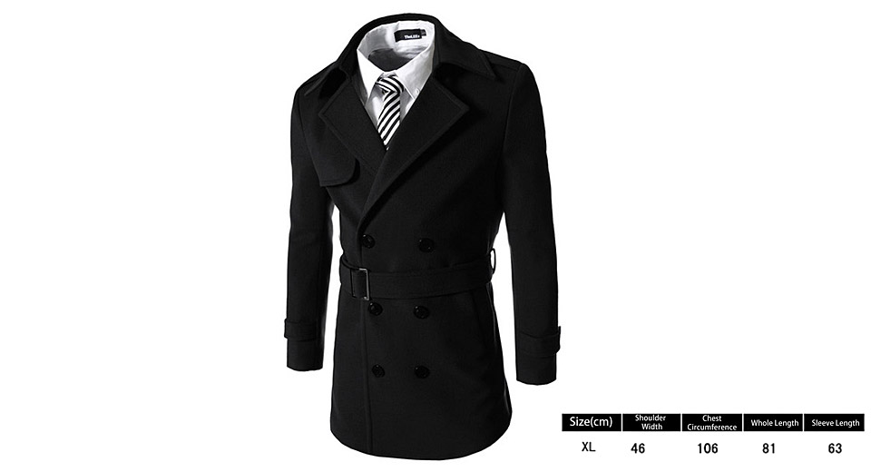 Product Image: men-s-lapel-collar-epaulet-embellished-double