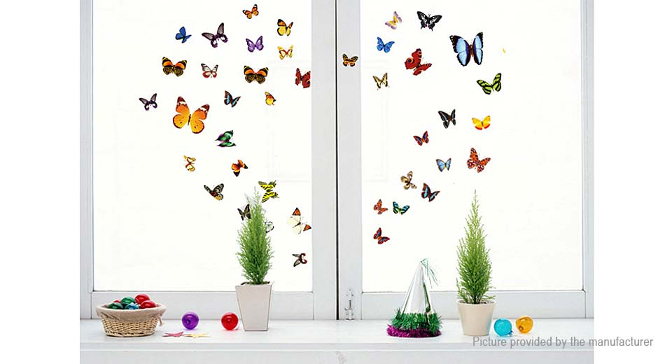 Colourful Butterfly Styled Removable Wall Sticker Home Decor (81 Pieces)