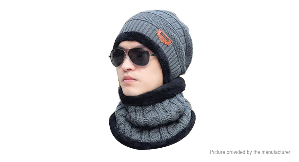 Men's Winter Warm Fleece Lined Knit Beanie Cap & Infinity Scarf Set