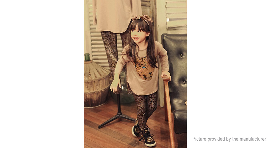Baby Girl's Fashion Leopard Print O-Neck Shirt + Long Pants Casual Clothing Sets (100cm)