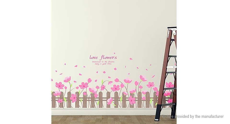 Love Flowers Styled Removable Wall Sticker Valentine's Day Home Decor