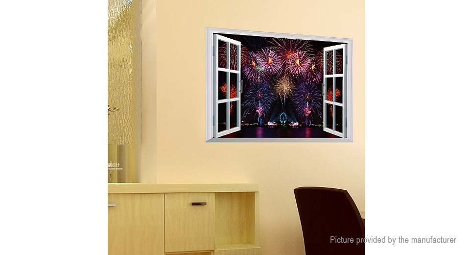 3D Artificial Window Fireworks Styled Removable Wall Sticker Home Decor