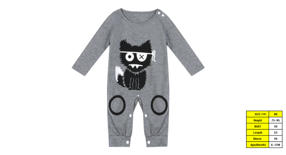 Product Image: baby-boy-infant-toddler-cartoon-cat-print-romper