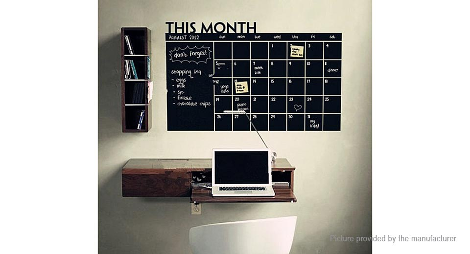 Calender Check Blackboard Styled Removable Wall Sticker Home Decor
