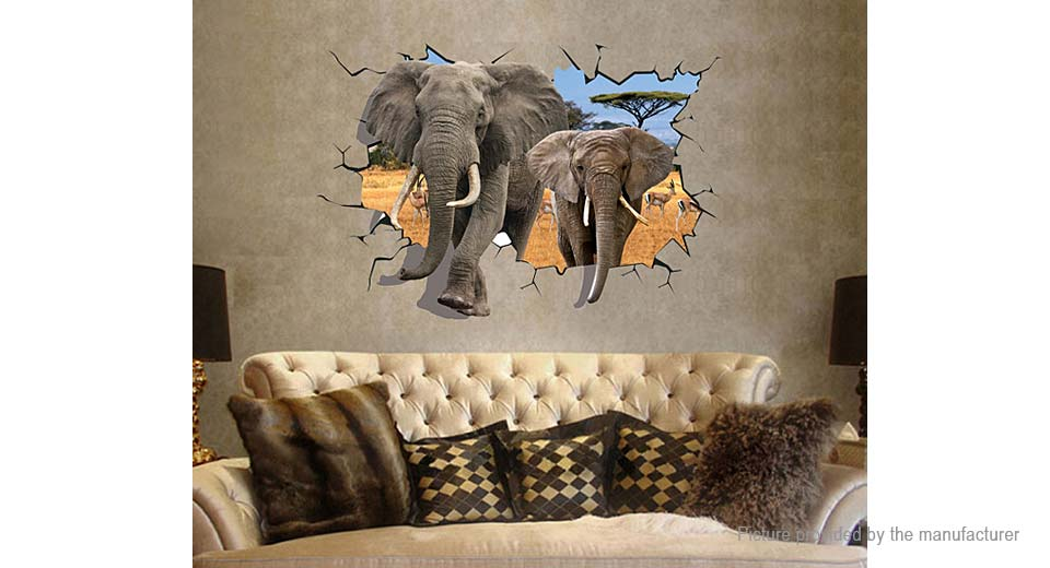 3D Elephant Styled Removable Wall Sticker Home Decor