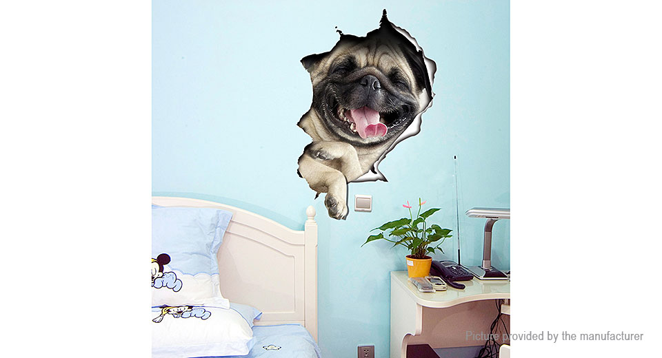 3D Dog Break Wall Styled Removable Wall Toilet Sticker Home Decor (5-Pack)