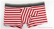 Men's Sexy Breathable Stripe Underwear Long Bulge Pouch Boxer Briefs (Size L)