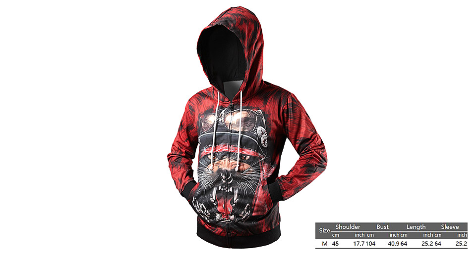 Product Image: men-s-3d-tiger-printed-drawstring-zip-up-hooded