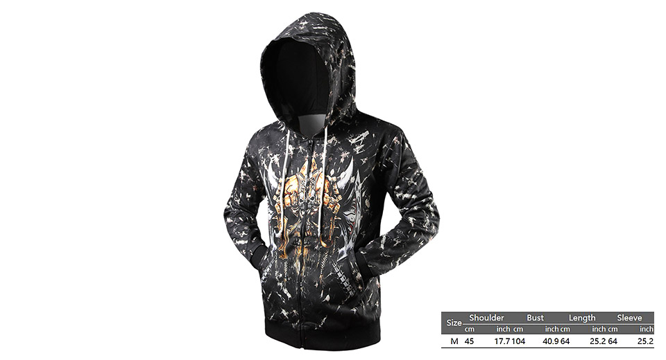Product Image: men-s-3d-printed-drawstring-zip-up-hooded-coat