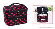 Portable Polyester Double Layer Makeup Cosmetic Organizer Storage Bag