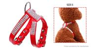 Pet Dog Soft PU Leather Rhinestone Harness Chest Strap Collar (Size S)