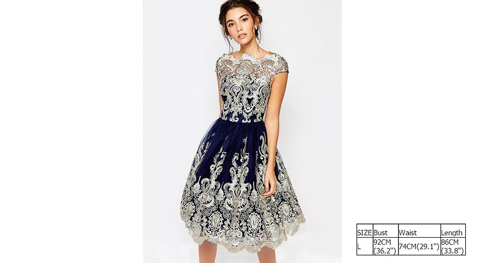 $19.40 Women\'s Vintage Silver Embroidery Short Party Prom Dress ...