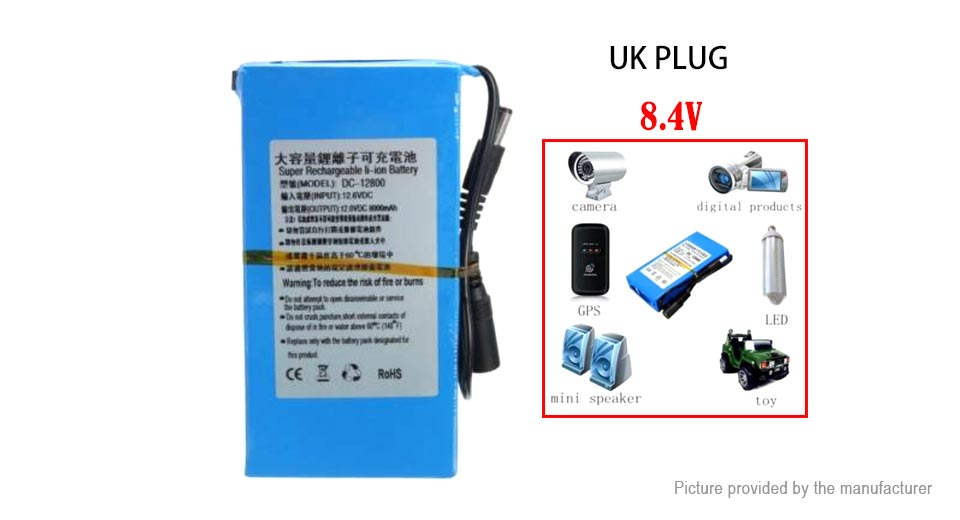 Product Image: portable-dc-8-4v-1800mah-rechargeable-li-ion