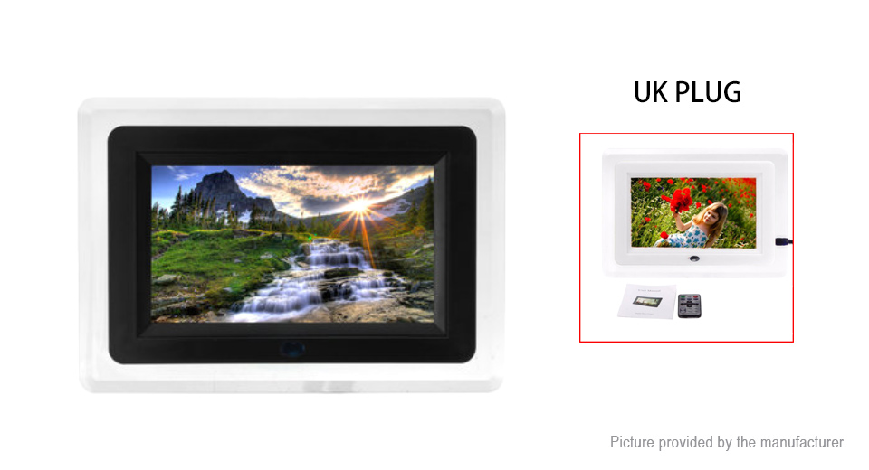 Digital Picture Frame 7inch Screen 800X480 Digital Photo Frame Clock Music Video Player with Remote Control White