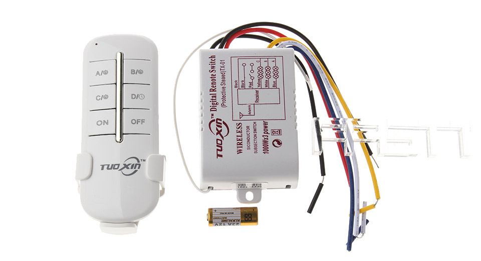 $6 71 3-Channel 220V Lamp Wireless Remote Control Switch Transmitter -  315MHz / 1*12V 23A battery at FastTech - Worldwide Free Shipping