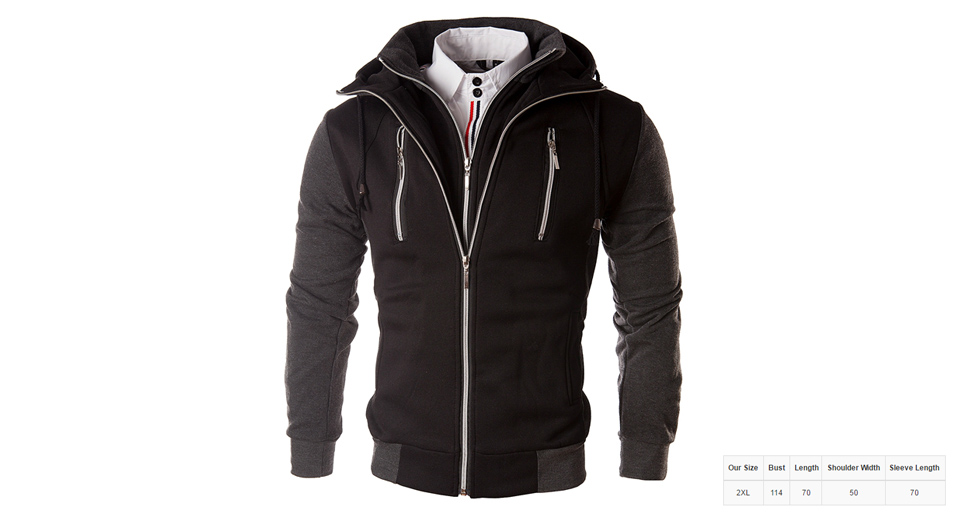 Product Image: men-s-faux-twinset-color-block-zip-up-hooded-coat