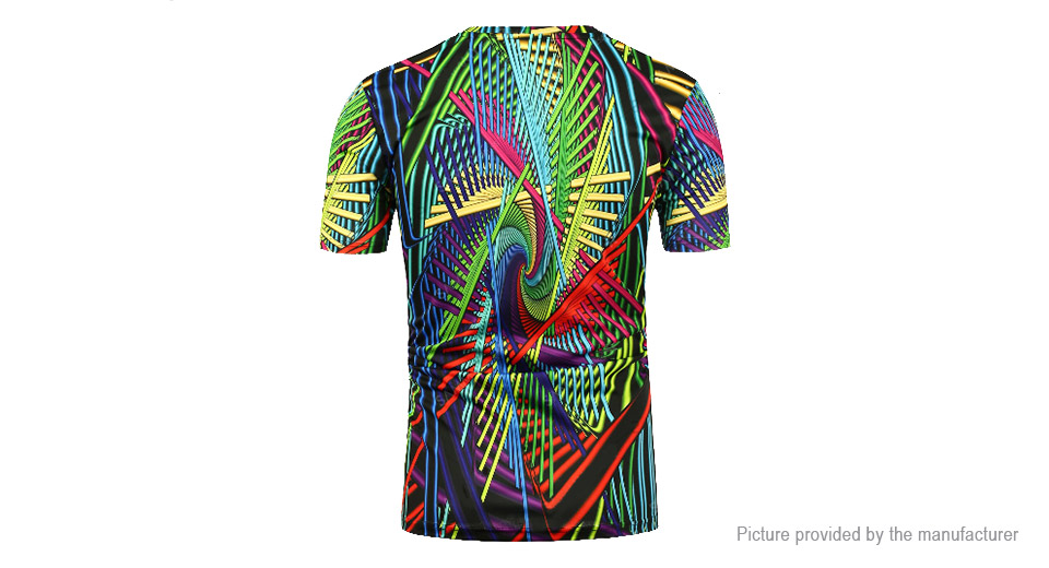 Men's 3D Geometric Print Short Sleeve Crew Neck T-Shirt (Size M)