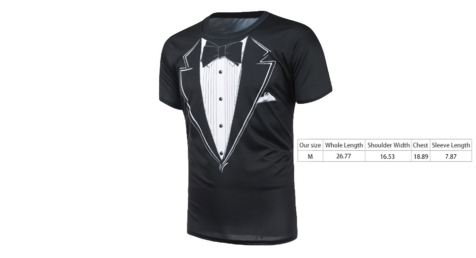 Men's Funny 3D Tuxedo Print Short Sleeve Crew Neck T-Shirt (Size M)