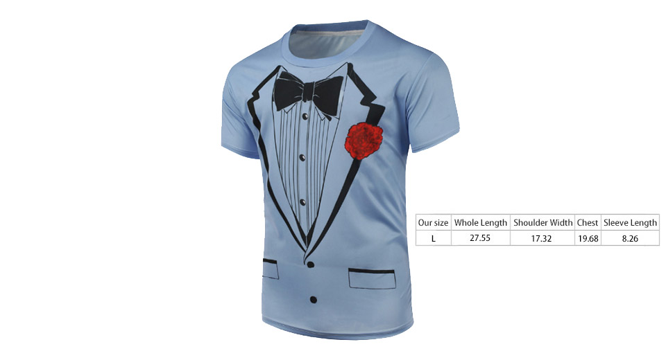 Men's Funny 3D Tuxedo Print Short Sleeve Crew Neck T-Shirt (Size L)