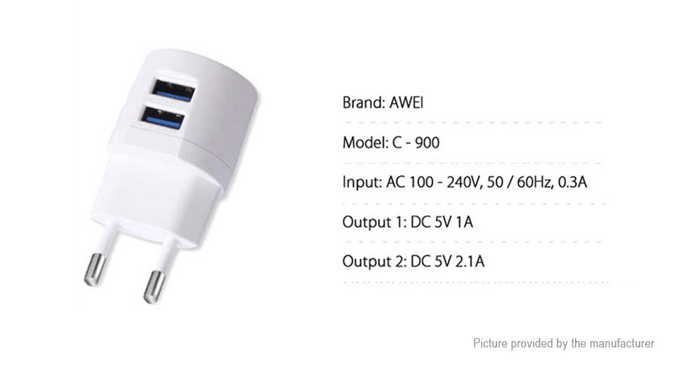 Product Image: authentic-awei-c-900-dual-usb-travel-wall-charger