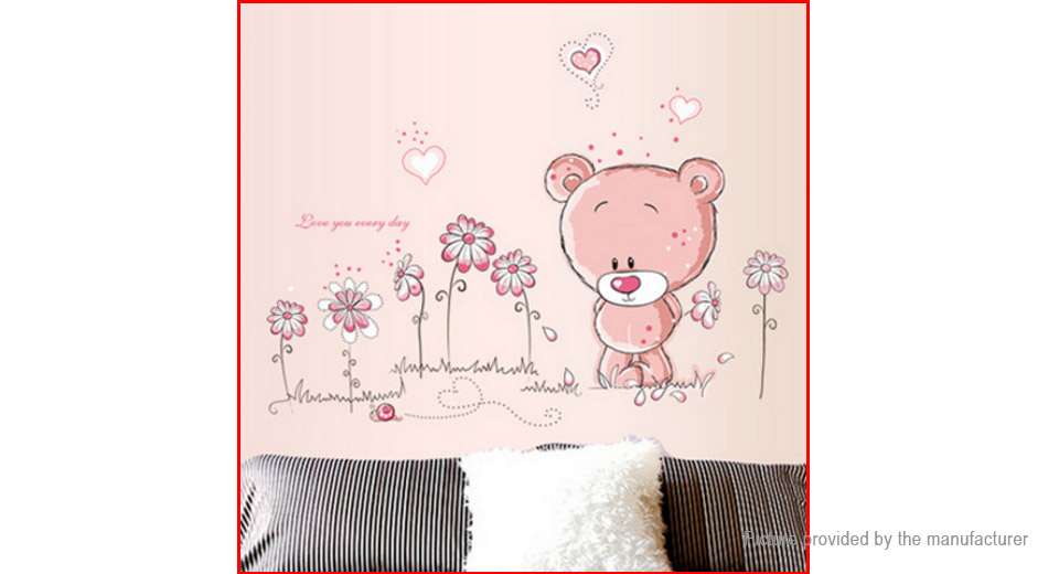 Cartoon Pink Bear Styled Removable Wall Sticker Home Decor