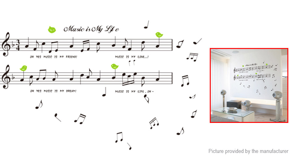 Music Note Styled Removable Wall Sticker Home Decor