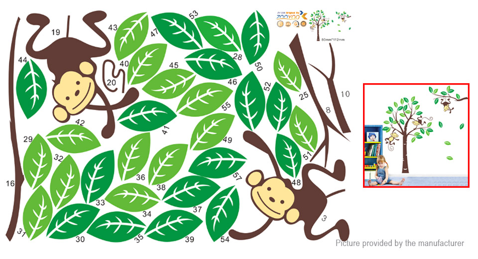 Monkey on Tree Styled Removable Wall Sticker Home Decor
