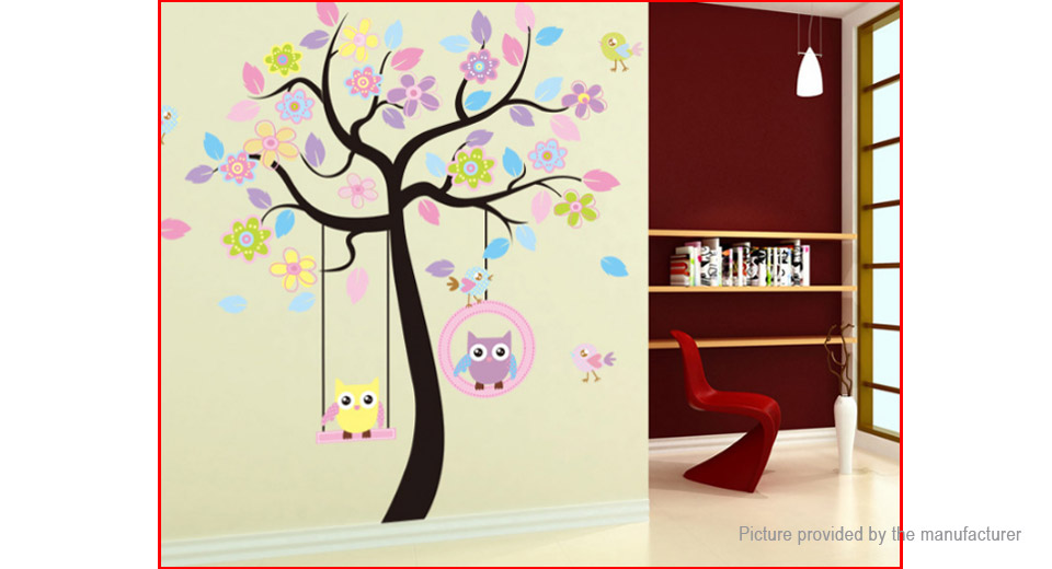 Owl on the Swing Styled Colourful Removable Wall Sticker Home Decor