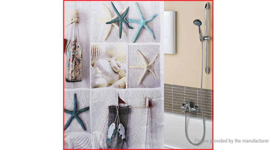 180*180cm 3D Seashell Styled Bathroom Shower Curtain