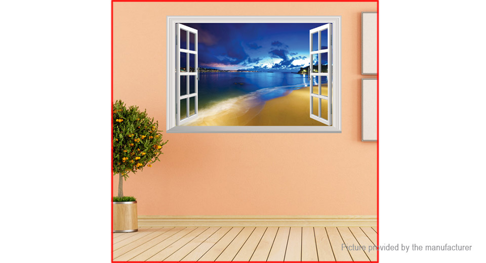 3D Blue Beach Styled Wall Sticker Home Decor