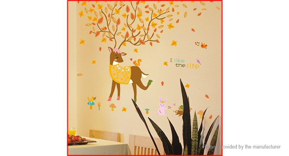 Falling Leaves & Deer Styled Wall Sticker Home Decor