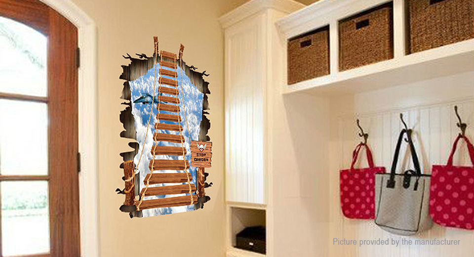 3D Rope Bridge Styled Wall Sticker Home Decor