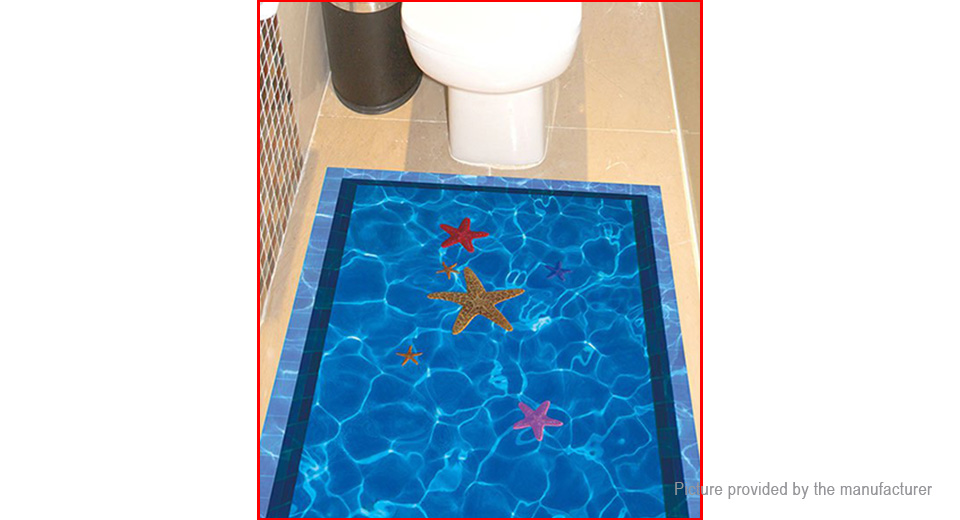 3D Swimming Pool w/ Starfish Styled Wall Sticker Home Decor